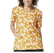 Zoe & Chloe Women's Medical Scrub Uniform Top Halloween Print (LARGE)