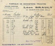 58 LA CHARITE-SUR-LOIRE BONNETERIE BRAULT FACTURE EPICERIE FOUBERT COULLONS 1929
