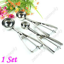 3 pcs Ice Cream Scoop Cookie Spoon Spring Handle Stainless Steel Tools 4/5/6cm