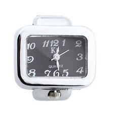 Unisex Alloy Rectangle Quartz Stretch Band Finger Ring Watch Black Dial