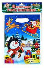 Pack of 8 Christmas Loot Bags Plastic Party Bag Gift Present Candy Sweet Xmas