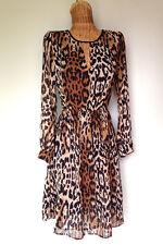 ZARA Womens Leopard Print Chiffon Split Neck Wear to Work Fit Flare Dress M 8 10