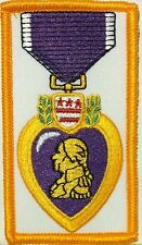 Purple Heart Medal Embroidered Iron-On Patch Emblem  Gold Border