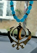 Gold Plated Punjabi Sikh Large Khanda Pendant Car Hanging Turquoise Beads