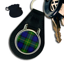 GORDON SCOTTISH CLAN TARTAN LEATHER KEYRING/ KEYFOB