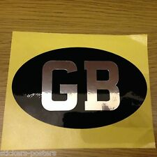 Classic Vintage style chrome on black 'GB' Sticker ideal -MINI MGB Triumph Lotus