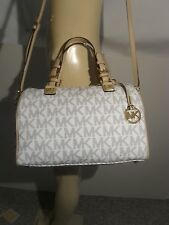 NWT Michael Kors Vanilla White Navy MK Signature PVC Grayson Large Satchel Bag