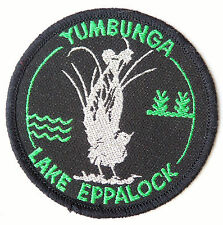 VINTAGE YUMBUNGA LAKE EPPALOCK EMBROIDERED SOUVENIR PATCH WOVEN SEW CLOTH BADGE