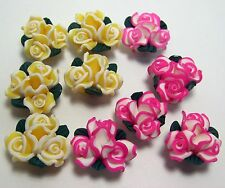 POLYMER FIMO CLAY SPRING ROSE BUNCHES FLOWER BEADS~HOT PINK-YELLOW~10 BEADS~