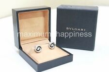 BVLGARI BULGARI OPTICAL ILLUSION STERLING SILVER ONYX CUFF LINKS - AUTHENTIC