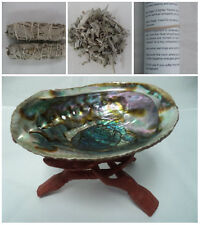 """Abalone Shell, 6"""" Wood Stand, 2 x White Sage Smudge Sticks + Sage Leaves & Guide"""