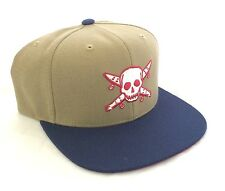 Fourstar Pirate Skull khaki/navy snapback cap hat - one size