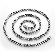 Silver Cool Mens Jewelry 3mm Fashion Stainless Steel Box Link Chain Necklace