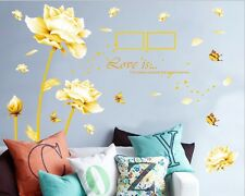 PVC Golden Love Lotus Wall Sticker Home Decor DIY Mural Decal Art Large USA