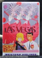 "Las Vegas Vintage Travel Poster 2"" X 3"" Fridge / Locker Magnet. Western Air"