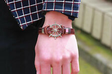 Cool Punk Mens Handmade Multilayer Leather Cuff Wristband Anchor Bangle Bracelet