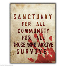 Sanctuary for all Community TERMINUS WALKING DEAD METAL SIGN WALL PLAQUE poster