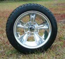 """Golf Cart 12"""" Polished Godfather Wheels with 205-30-12 Low Profile Tire Set of 4"""