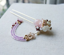 High Quality Chinese Classical Ladies Hairpin Step Shake Pink Chalcedony Hyacint