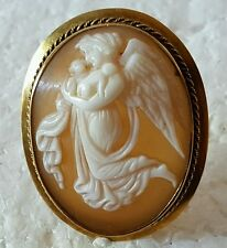 EOS Aurora Dawn Day Goddess Carved Cameo in 14K Gold Pin Brooch Pendant
