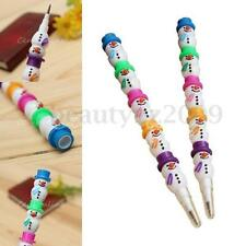 Set of 4 Cute Christmas Xmas Snowman Stackable Pencil Joint 5-Color Kids Favor