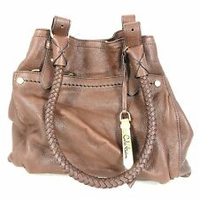 COLE HAAN Dark Brown Leather Braided Strap Satchel Tote Shoulder Purse 0000MB