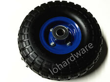 "10"" HAND TROLLEY WHEEL WHEELS TYRE RIM 19MM BORE PUNCTURE PROOF NO MORE FLAT"