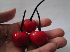 set 3 VINTAGE GLASS CHERRIES HAND BLOWN MURANO STYLE REALISTIC cherry