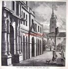 Antique Old London Engraved Print c1878 - 'The King's Mews (Charing Cross)'