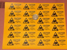 96x STATIC SENSITIVE DEVICES WARNING LABELS *  4 SHEETS of 24 STICKY LABELS