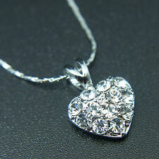 18k white Gold plated heart love charm pendant necklace with Swarovski elements