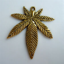 5pcs Antique Gold Marijuana Weed Leaf Charm Pendants Jewelry Findings For DIY