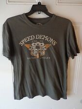 LUCKY BRAND Speed Demons Motorcycle   men's t-shirt gray Large