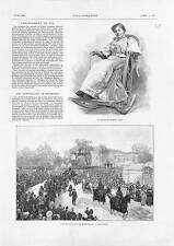 Funeral Mihaly Munkacsy Hungary / Gyp Comtesse de Martel  ANTIQUE PRINT 1900