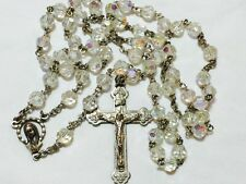 VINTAGE ROSARY AB CRYSTAL FACETED GLASS CLEAR BEADS JESUS  MARY