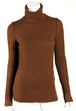 DOLCE & GABBANA Rust Brown Wool Ribbed Knit Wool Turtleneck Sweater 38