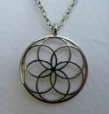 SIMPLE FLOWER OF LIFE FILIGREE SILVER PLATED PENDANT AND CHAIN - MYSTIC MYSTERY