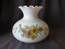 "Vintage  Milk Glass   Lamp shade  Yellow Daisies 6 7/8""  base fitter"