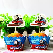 Set 24pcs Thomas The Train Kids Birthday Party 12 Wrap +12 Cupcake Cake Toppers