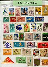 T478 # BULK 39 PCS SPORTS USED STAMPS USA NORWAY AFGHANES ETC