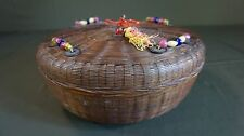 Beautiful Large Chinese Qing Dynasty Bamboo Basket with Coins & Glass Beads