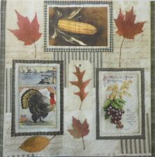 4 X single PAPER NAPKINS PARTY - AUTUMN LEAVES TURKEY  DECOUPAGE  CRAFTING-75