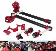 Handlebar Clip-On Bar End Fork Adjuster Yoke Nut Set Red For KAWASAKI Ninja 250R