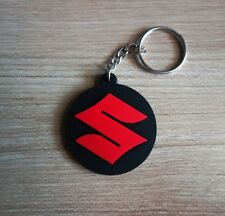 New SUZUKI Keychain Key ring Black Red Rubber Motorcycle Car Collectible Gift