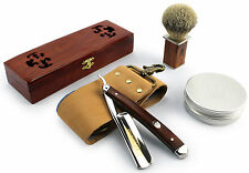A.P. Donovan Straight Cut Throat Razor Starter Gift Set - Shaving Brush, Strop