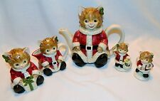 VINTAGE OTAGIRI CHRISTMAS CAT TEAPOT/ SUGAR & CREAMER, SALT & PEPPER SET –JAPAN