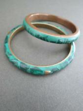 Vintage Art Deco Malachite Brass Bangles Set