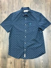 Mens Penguin Navy Blue Lilac Patternned Short Sleeve Cotton Shirt - Size Medium