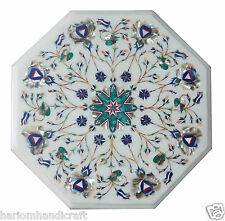 """12"""" White Marble Side Coffee Table Top Mother of Pearl Mosiac Inlay decor H857"""