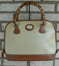 Dooney & Bourke Panama Linen Satchel Tan Leather Trim Handbag W/ Bamboo Handles